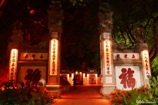 Ngoc Son Temple at night